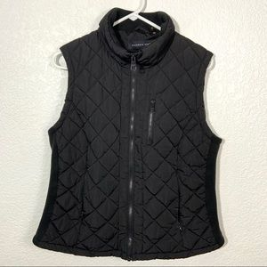 Andrew Marc Black Quilted Vest Large